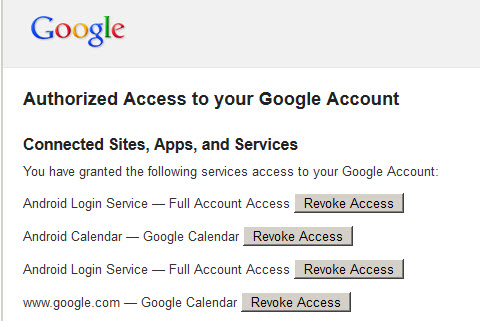 Google account revoke access page
